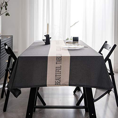 YCZZ Ronde tafel met rechthoekig bureau, waterdicht, verbrandingsvrij salontafelkleed, grijze tv-kastafdekking tafelkleed