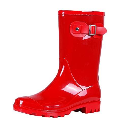 Women's Mid Calf Rain Boots Waterproof Garden Shoes Glossy Red 39