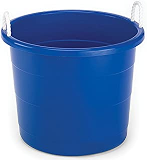Homz Plastic Utility Tub with Rope Handles, 17 Gallon, Cobalt Blue, Set of 2