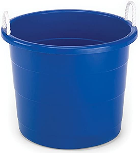 Homz Plastic Utility Tub With Rope Handles 17 Gallon Cobalt Blue Set Of 2