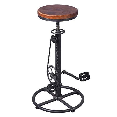 VINTAGELIVING Taburete de Bar Industrial Giratorio Vintage Silla de café Cocina Pub taburetes Bicicleta Pedal reposapiés de Madera Asiento Ajustable Altura marrón