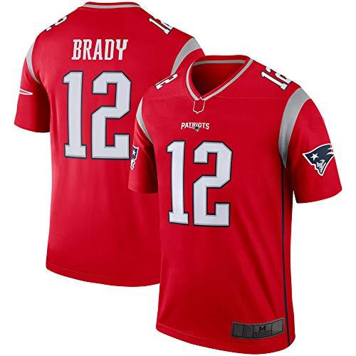 WEVB Camisetas de rugby de fútbol americano al aire libre NO.12 rojo, camiseta de leyenda invertida ropa deportiva de secado rápido para hombres
