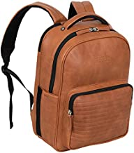 "Kenneth Cole On Track Pack Vegan Leather 15.6"" Laptop & Tablet Bookbag Anti-Theft RFID Backpack for School, Work, & Travel, Cognac, Laptop"