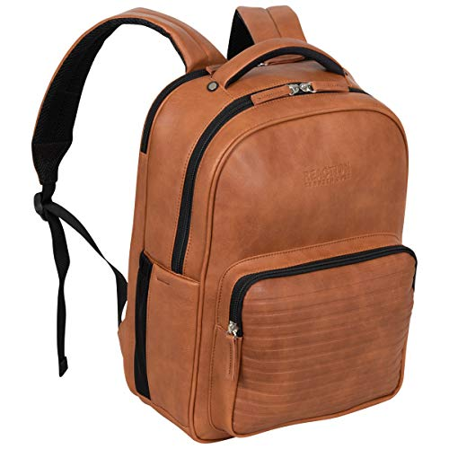 "Kenneth Cole On Track Pack Vegan Leather 15.6"" Laptop & Tablet Bookbag Anti-Theft RFID Backpack for School, Work, & Travel, Cognac, Laptop"