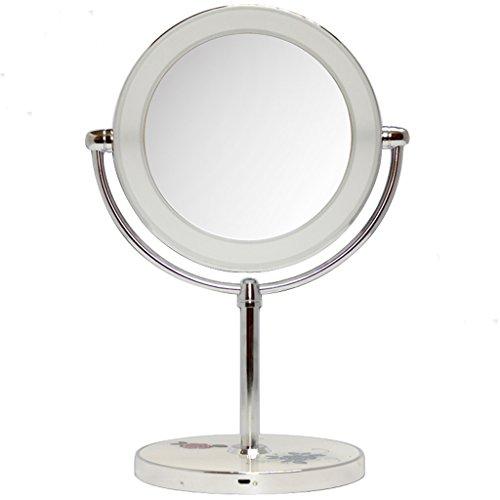 RSWLY Espejo de escritorio de doble cara con una lámpara de maquillaje espejo 10 veces aumento (color plateado)