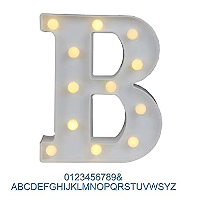 Ogrmar Decorative Led Light Up Number Letters, White Plastic Marquee Number Lights Sign Party Wedding Decor Battery Operated (B)