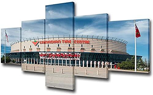 FGART Cuadro de pared de estadio deportivo para sala de estar Centro de neumáticos canadiense Lienzo Equipo de arte de pared Impresiones el lugar del partido Pintura Decoración contemporánea 5 paneles