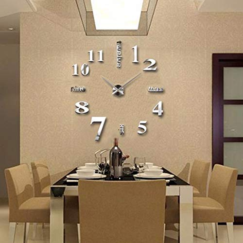 FASHION in THE CITY 3D DIY Mirror Surface Wall Clocks Modern Design Living Room Decorative Wall Watches … (Silver)