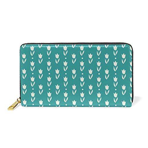 LORONA Türkische Fliesen Tuplips Muster Leder Lange Reißverschluss Clutch Brieftasche Geldbörse für Frauen Reise Clutch Tasche