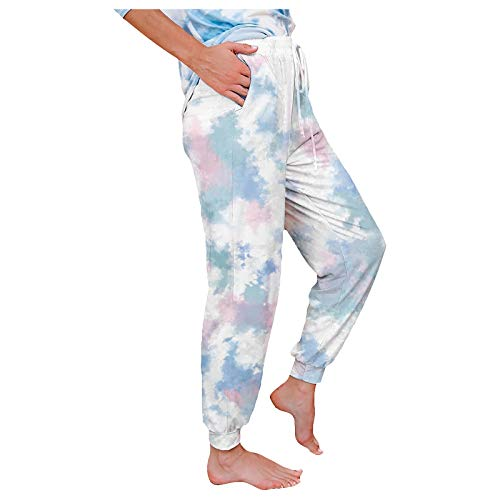 Pantaloni in pelle da donna, pantaloni da jogging, jeans a campana, pantaloni estivi da donna, alla moda, sportivi, casual, con effetto tie-dye, pantaloni bianchi, (#001) Bianco, L