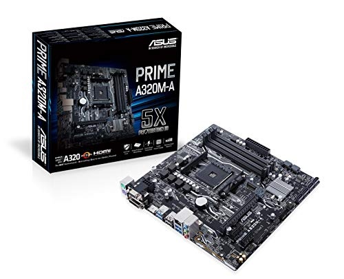 Asus Prime A320M-A Mainboard Sockel AM4 (uATX, AMD A320, 4x DDR4-Speicher mit 3200 MHz, M.2, USB 3.1)