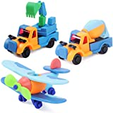 Kissdream Puzzle Toys - STEM Learning Original(91 pieces), 3 pack Take Apart Fun include airplane,excavator,Cement tanker, Building Play Set For Boys Girls Toddlers, Best Toy Gift Kids Ages 3yr – 6yr.