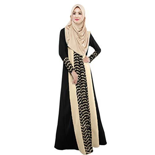 Muslimisches Frauen-Elegantes Weinlese-langes Kleid, routinfly langes Maxi-Kleid Dubai-ethnisches Patchwork-Kleid Islam Abaya Kaftan Moslem