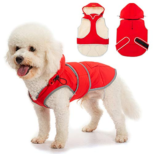 Dog Winter Coat with Removable Hat - Waterproof and Reflective Cold Weather Jacket Hoodie for Large Dog
