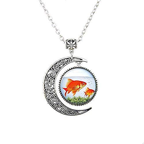 Collar con diseño de luna, color rojo, joyería vintage para mujeres y hombres