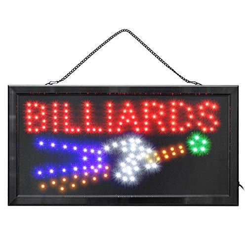 LED Schild Leuchtreklame BILLIARDS Billard Werbeschild für Bars Kneipen Cafe Leucht-Reklame Billardzimmer Deko Leucht-Werbeschild