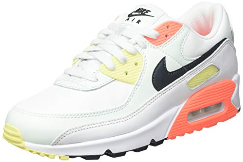Nike W Air Max 90, Scarpe da Corsa Donna, Summit White/Dk Smoke Grey-Barely Green-BRT Mango-lt zitron-White, 37.5 EU