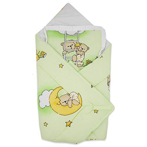 BlueberryShop Wickeldecke mit Kissen | Baumwolldecke | Schlafsack für Neugeborene von 0 bis 3 Monaten | Perfekt als Geschenk für Baby Shower | 78 x 78 cm | Grün Bär auf der Leiter