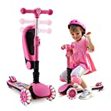SANSIRP 2-in-1 Kick Scooter for Kids, 3 Wheel Scooter with Folding/Removable Seat Adjustable Height Wheels for Toddlers Girls & Boys 2-12-Years-Old