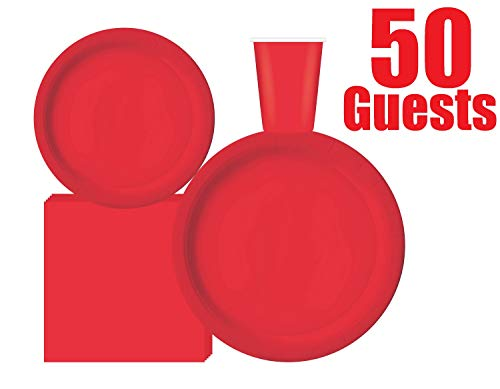 Serves 50 Guest Complete Party Pack | Red | 9' Dinner Paper Plates | 7' Dessert Paper Plates | 9 oz Cups | 3 Ply Napkins | office parties, summer picnics, birthday parties, festivals, Red Party Theme