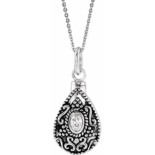 Collar de plata de ley 925 con forma de lágrima de abril pulido en abril para mujer