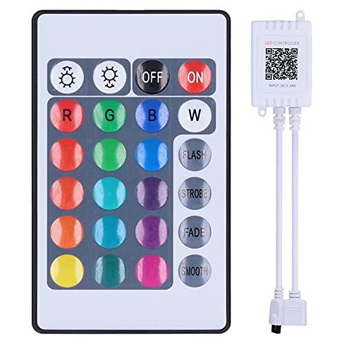 Controlador de luz de tira LED Bluetooth, Control de aplicación de teléfono Controlador de luces de tira LED RGB, Soporte de sincronización de música, para fiestas, bodas, decoración del hogar