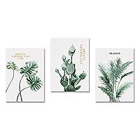 北欧の緑の植物壁アート装飾キャンバス絵画プリント葉ポスターリビングルームのインテリア写真家の壁の装飾絵画/フレームなし-60x80cmx3