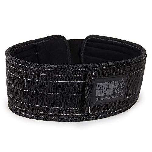 GORILLA WEAR 4 Inch Nylon Belt - schwarz - Bodybuilding und Fitness Gürtel für Damen und Herren, S/M