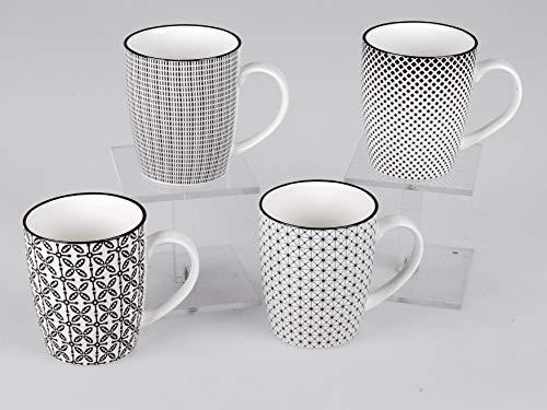 4er Set Kaffeebecher schwarz weiß 300 ml Tasse Kaffeetasse Becher Kaffeetasse