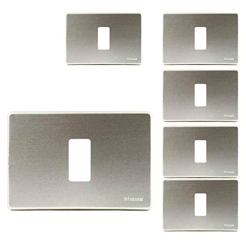 Placca 1 Posto Bticino Serie Magic In Alluminio Oxidal In Cofezione Da 6 Placche