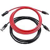 10AWGソーラー延長ケーブルワイヤ9m、赤9m+黒9m10AWG(6mm²)ペア、MC4-メスおよびオスコネクタ付きソーラーパネルアダプタケーブル
