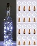 (16 pezzi) Luci per Bottiglia, kolpop Tappi LED a Batteria per Bottiglie, 2M 20LED Filo di Rame Led Decorative Stringa Luci da Interni e Esterni per Festa Giardino Natalizie Matrimonio (Bianco Freddo)