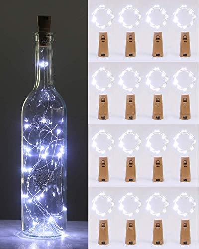 (16 Stück) Flaschenlicht Batterie, kolpop Flaschenlichterkette Korken 2M 20LED Glas Korken Licht Lichterkette mit Batterie für Flasche für außen/innen Deko für Party, Hochzeit, Weihnachten(KaltesWeiß)