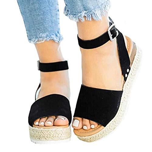 WINTOM Sandali Estivi Donna Comodi Scarpe Donna Con Tacco Pantofole con Plateau Donna Estive Sandali Zeppa Beach Shoes Sandali Bassi Eleganti In Pelle