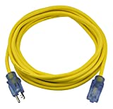 Prime LT511725 25-Foot 14/3 SJTOW Bulldog Tough Extension Cord with PrimeLight Indicator Light, Yellow