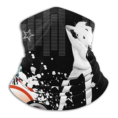 Welc my King Musik Wallpaper Unisex Mikrofaser Halswärmer Stirnbänder Schal Kopf Wickelhals für Männer Frauen Outdoor Sport Schwarz