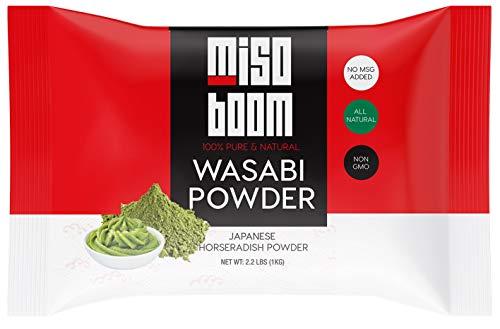 Wasabi Powder 2.2 lb. Real Wasabi Root Powder for Wasabi Sauce and Wasabi Paste for Sushi, Japanese Horseradish Powder, Sushi Wasabi Powdered, Fresh Wasabi Powder Bulk. By MisoBoom, 2.2 Pounds.