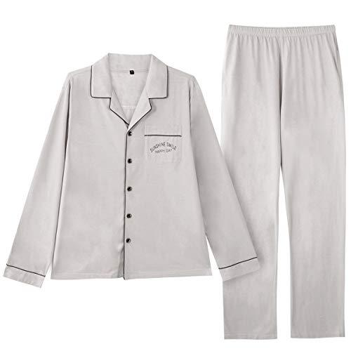 GOSO Pijama para Hombre Conjunto de algodón con Botones Ropa de Dormir Manga Larga/Corta Top con...