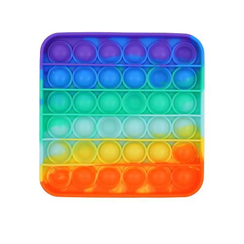 Carnavalife Juguetes Antiestrés Sensoriales Empujar de Silicona para Relajarse Autismo Necesidades Especiales Fidget Toy Antistress Push Pop Pop Bubble Sensorial (Arco Iris Cuadrado)