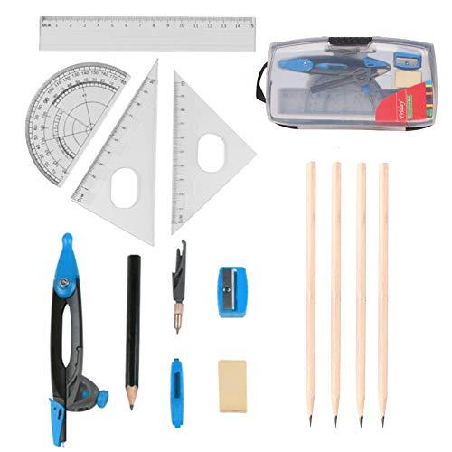 HQCM Geometrie Set, Mathe Set mit 4 Stiften, 15 Kompasssätzen für die Geometriemathematik, einschließlich Kompass, Winkelmesser, Lineal, Bleidraht, Bleistift, Radiergummi, Anspitzer für Schüler