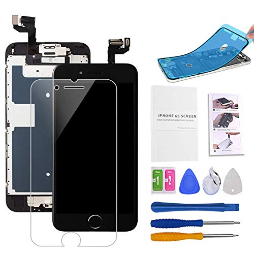 Screen Replacement Compatible with iPhone 6s Black 4.7(inch) LCD Display Touch Digitizer Assembly Repair Kit & Home Button,Ear Speaker, Front Camera,Proximity Sensor, Repair Tools