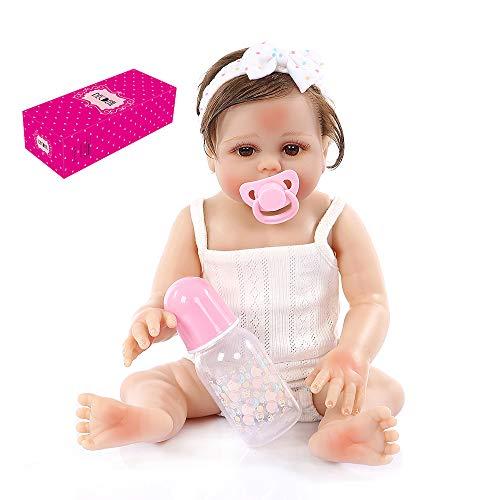 Decdeal Reborn Baby Doll Silicone Full Body 19 Pollici Realistico Bambole da Bagno Carine per Bambini Compleanno Regali per la Doccia