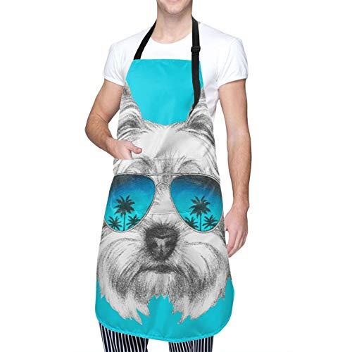 Ajustable Colgante de Cuello Personalizado Delantal Impermeable,Retrato de perro Yorkshire Terrier con gafas de sol de espejo,Babero de Cocina Vestido para Hombres Mujeres con 2 Bolsillos Centrales