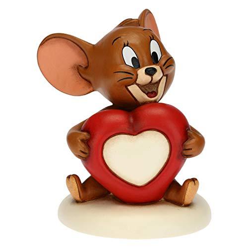 THUN - Soprammobile Topo Jerry con Cuore - Accessori per la Casa da Collezionare - Linea Tom e Jerry, Warner Bros - Formato Piccolo - Ceramica - 8,8 x 9,6 x 10,3 h cm