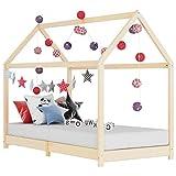 vidaXL Bois de Pin Massif Cadre de Lit d'enfant Lit Cabane d'enfant Structure de Lit pour Enfants Chambre d'enfant Maison Intérieur 80x160 cm