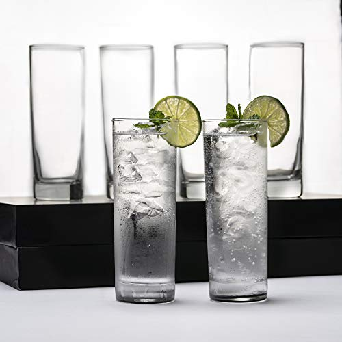 Premium Highball Glass Set - Elegant Tom Collins Glasses Set of 6-12oz Tall Drinking Water Glasses -...