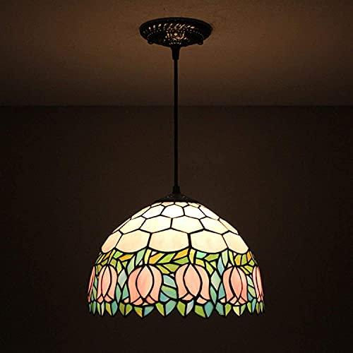 XYQS TiffanyStyle Colgante Luz, Tulipán de 12 Pulgadas Tulip Art Pattern Lámparas Colgantes de Vidrio Iluminación, Lámpara de Estudio Dormitorio Araña