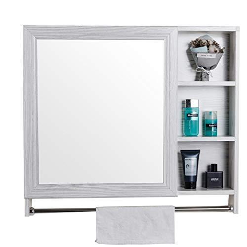 Armoires avec miroir Armoire de Toilette Miroir Mural en Bois Massif Miroir de Toilette avec Porte-Serviettes Armoires de Cuisine Multicouches Miroirs de Salle de Bain