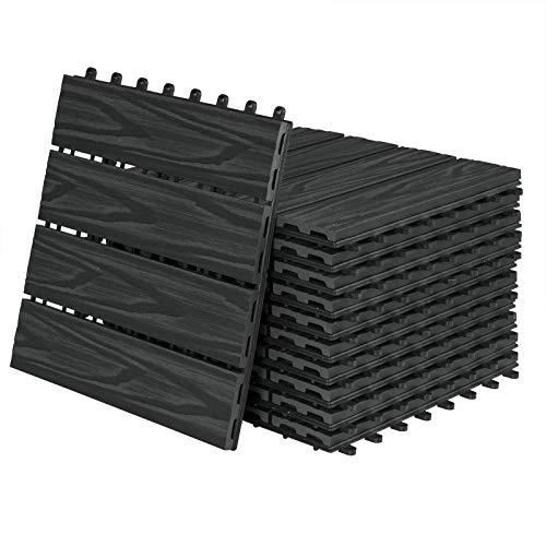 Laneetal 11pcs Piastrelle da Esterno Incastrabili per Pavimenti Pavimentazione in WPC per Giardino Terrazza Patio 1m² Colore Antracite 0360026