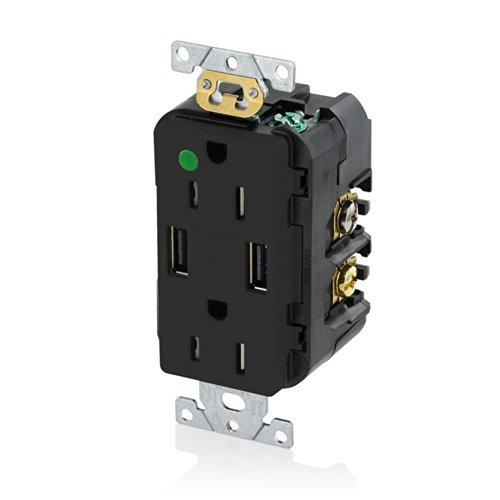 Leviton T5632-HGE 15-Amp Hospital Grade USB Charger/Tamper-Resistant Duplex Receptacle, Black